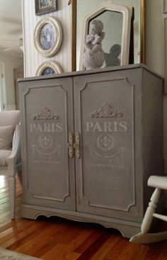 stencils for dressers | Then she used our Paris Rue Henri stencil underneath the gingerbread ...