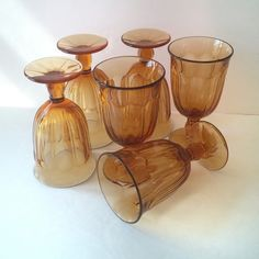 water iced tea goblets drinking glasses, wedding housewarming couple gift idea, vintage Noritake amber stemware barware, home wedding decor - pinned by pin4etsy.com