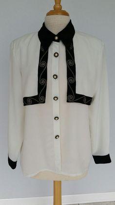 Vtg Bora Bora Women's Long Sl Embroidered Career Blouse Black/Ivory Size 10