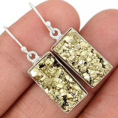 Golden Pyrite Druzy 925 Sterling Silver Earrings Jewelry PYDE50