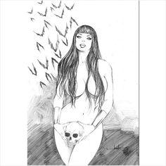 JON FERREIRA- VAMPIRELLA 3 Drawing Pinup Original Art
