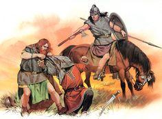 Murchad, the son of Brian Boru, High King of all Ireland, tackles a Viking at the battle of Clontarf, Dublin, 1014