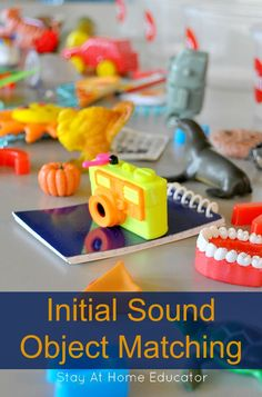 Initial Sound Object Matching Activity for tactile learning - Stay At Home Educator. hands-on letter game, alphabet activities, learn letters, Montessori letter activities Writing Activities For Preschoolers, Preschool Writing, Phonics Activities, Alphabet Activities, Infant Activities, Preschool Alphabet, Alphabet Crafts, Alphabet Letters, Initial Sounds