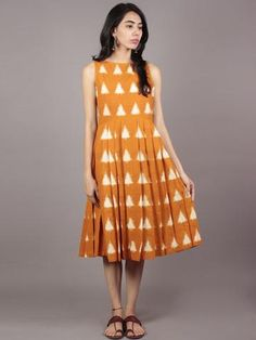 Mustard Ivory Handwoven Double Ikat Pleated Sleeveless Dress With Side Pockets & Back Zip - Kurta Designs, Blouse Designs, Dress Designs, Frock Fashion, Fashion Dresses, Long Summer Dresses, Short Dresses, Casual Frocks, Frock For Women