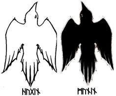 Hugin and Munin, Thought and Memory in Norse mythology Norse Mythology Tattoo, Norse Tattoo, Raven Tattoo, Tatoo Art, Viking Tattoos, Slavic Tattoo, Norse Runes, Norse Pagan, Viking Symbols