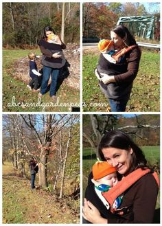 Warm, cozy and close. Enjoy the outdoors this fall and let baby see the world along with you!   #babywearing