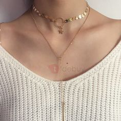 Handmade Spangle & Star Decorated E-plating Alloy Necklace