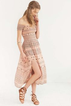 Kimchi Blue Picnic Smocked Off-The-Shoulder Midi Dress - Urban Outfitters