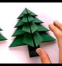 Origami Christmas trees - ornaments with paper folding // Origami karácsonyfák - karácsonyfadíszek papírhajtogatással // Mindy - craft tutorial collection // #crafts #DIY #craftTutorial #tutorial #Origami #OrigamiModels #PaperFolding #PaperCrafts