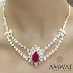 A bold and luxurious ruby and diamond necklace for a glamorous night out ...from Amwaj Jewellery.