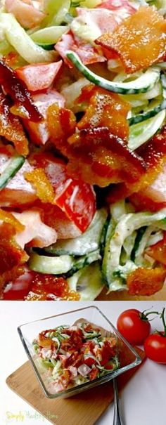3 slices Bacon. 1 Cucumbers. 1/8 tsp Garlic powder. 1 Tomatoes. 1 tbsp Mayonnaise. 1 Black pepper. 1 Sea salt.