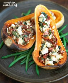 Stuffed Butternut Squash with Feta #recipe