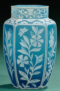 glass, England, An Art Nouveau Cameo glass vase, England, hexagonal form with floral panels, bird and insect in white cameo on blue ground circa 1876-1925