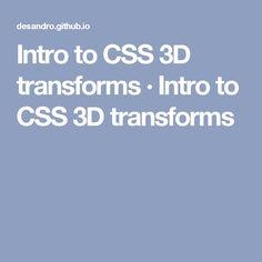 Intro to CSS 3D transforms · Intro to CSS 3D transforms