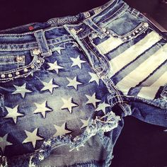 American Flag Miss Me denim shorts--Oolala! L.A. Boutique