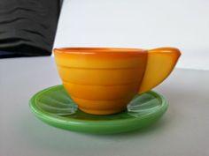 Akro Agate Pumpkin Cup GR Saucer Stacked Disc Interior Panel Childs Vintage | eBay