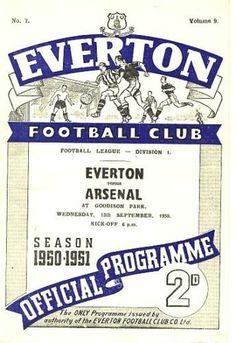 Everton v Arsenal 1950-51 match programme