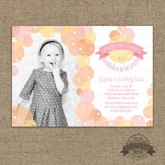 Bubbles and Brunch Invitation - Bubble Birthday Party Photo Invitation Printable - Any Colors - Bubbles Party