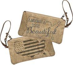 America the Beautiful Canvas Wristlet
