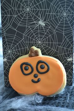 No messy seeds with this Jack 'O Lantern sugar cookie by Bake Sale. Bake Sale, Lantern, Seeds, Sugar, Cookies, Baking, Halloween, Breakfast, Desserts