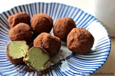 Matcha Truffles with White Chocolate and Cocoa Powder