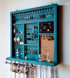 TURQUOISE distressed earring holder with shelf. wall mounted jewelry storage - diy jewelry To Sell Ideen Diy Jewelry Unique, Diy Jewelry To Sell, Diy Jewelry Holder, Jewelry Hanger, Hanging Jewelry, Jewelry Show, Earring Holders, Jewelry Tree, Diy Necklace Holder