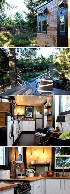 This custom tiny house features a rooftop deck.  The modern design uses dark hardwood floors and trim with white tongue and groove panels.