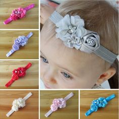 Frete grátis 2015 elásticas Headbands com pérola flor cabelo menina acessório infantil flor rosa hairbands headwear em Toucas e Bonés de Mamãe e Bebê no AliExpress.com | Alibaba Group