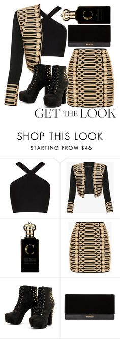 """Rocker Balmain"" by mareehamasood246 on Polyvore featuring BCBGMAXAZRIA, Balmain, Clive Christian, rockerchic and rockerstyle"