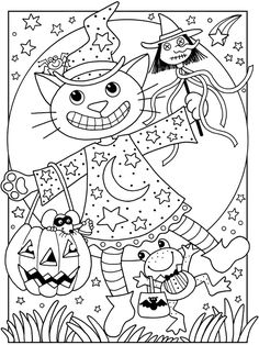 Hallowen Coloring Cat Halloween Pages Free