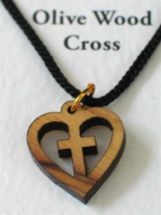 6 Olive Wood Heart Cross Pendant Necklaces