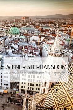 Wie hoch ist eigentlich der Wiener Stephansdom? Die Geschichte des Doms geht zurück bis ins Jahr 1137 also genau 880 Jahre. Der Wiener Stephansdom hat zwei Türme. Den Nord- und den Südturm. Der Südturm misst stolze 136 Meter. Der Nordturm ist 68,3 Meter hoch. Den Südturm kannst du mit 343 Stufen erklimmen. Sehr anstregend, aber die Aussicht ist es wert! Paris Skyline, Travel, History, Viajes, Destinations, Traveling, Trips