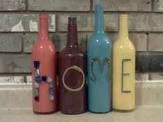 Painted Wine Bottles by krank1016 on Etsy, $11.00