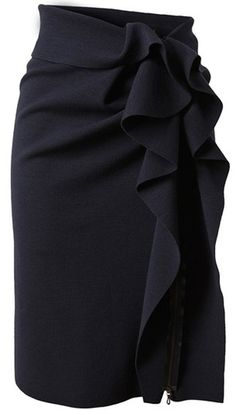 Ruffled black pencil skirt. - Click image to find more women's fashion Pinterest pins