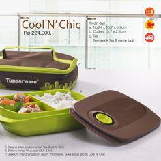 Cool N' Chic 50 STARS  Rp. 224,000,-  a. 1L / 24 x 15,7 x 5,7 cm b. Cutlery: 15,7 x 2,4 cm c. Tas (Termasuk tas dan name tag)*  *Garansi Tidak Berlaku untuk Tas Cool N' Chic * Berlaku harga khusus produk + tas. *Sebelum menghangatkan di microwave, buka katup silicon Cool N' Chic