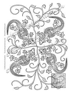 I Love These Happy Little Lizards Leapin Leafy By AdultColoringBooksAA ArtworkAnywhere