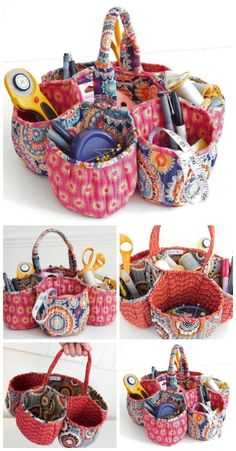 Sewing For Beginners Gorgeous honeycomb storage basket sewing pattern. Not for beginners, but well worth the effort to sew this great craft basket. Sewing Hacks, Sewing Tutorials, Sewing Crafts, Sewing Patterns, Sewing Tips, Sewing Ideas, Purse Patterns, Clothes Patterns, Craft Patterns