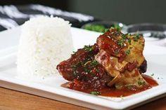 Braised lamb neck chops in plum sauce