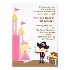 The 18 best princess and pirate party invitations images on blonde princess and pirate invitation filmwisefo