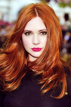 Karen Gillan. Oh my gosh, I love these girls with copper-red hair and hazel eyes!!! They all look SOOOOO good!!!!!