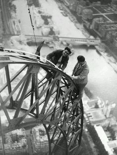 Workers on the Eiffel Tower..Vintage Photo Paris