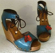 Clog Shoe Blue Red Butterfly Tooled Wooden Wedge by karenkell, $250.00