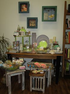Nest those tables to create an inviting display!