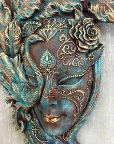maskAltered mask mask how to make one Mixed Media Canvas, Mixed Media Art, Mix Media, Venetian Carnival Masks, Masks Art, Bottle Art, Fabric Decor, Face Art, Medium Art