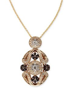 Espresso by EFFY Collection Diamond Necklace, 14k Gold Brown (1/3 ct. t.w.) and White Diamond (5/8 ct. t.w.) Ornate Pendant - All Effy Jewelry - Jewelry & Watches - Macy's