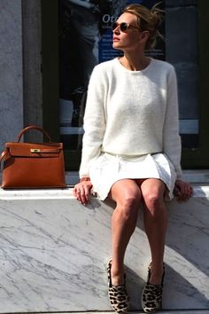 white on white with the cutest leopard shoes!