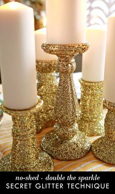 Glitter is a great way to add sparkle to your life. It is impossible to have a bad day with the added sparkle of glitter. Holiday Crafts, Holiday Fun, Christmas Holidays, Christmas Decorations, Holiday Decor, Christmas Glitter, Velas Diy, Glitter Crafts, Glitter Projects