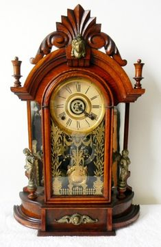 Ansonia or Gilbert Shelf or Mantle Clock Victorian Wood Case Alarm Setting | eBay