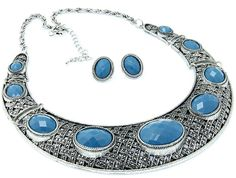 Facet Necklace Turquoise Blue Metal Bib Necklace Set Fashion Jewelry #FashionJewelry