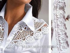 Refashion a button up shirt by removing the yoke and replacing with lace or sheer fabric